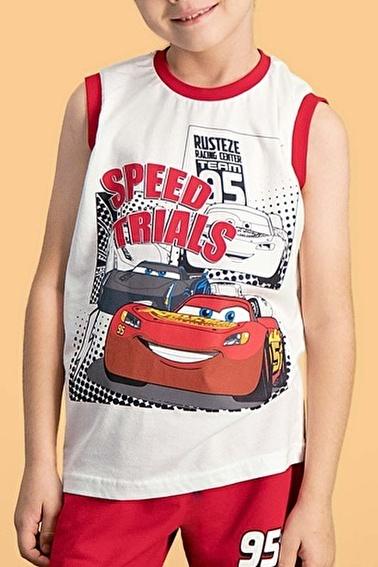 Cars Cars Lisanslı Kırmızı Erkek Çocuk Şort Takım Krem